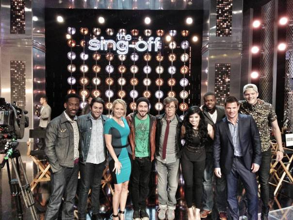 The Sing-Off Season 4 judges with Season 3 winners, Pentatonix: (L to R): Shawn Stockman, Mitch Grassi, Jewel, Avi Kaplan, Ben Folds, Kirstie Maldonado, Kevin Olusola, Nick Lachey, and Scott Hoying